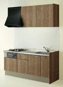キッチン I型 クリナップ コルティ テーブルコンロタイプ Sシリーズ 扉カラー Y4B モカウッド